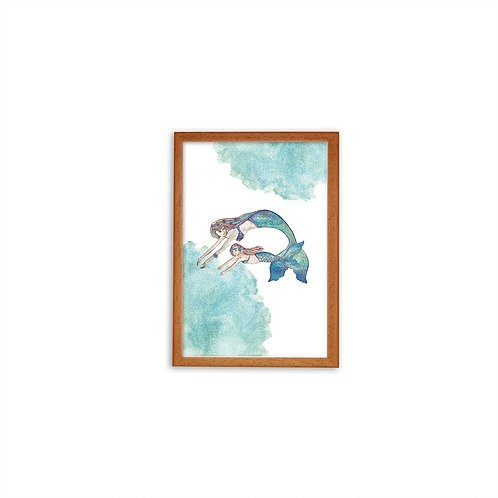 Mermaid Love Print - Wood frame - Mary Tale