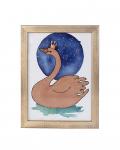 Aguarela Baby Swan - Moldura Dourada
