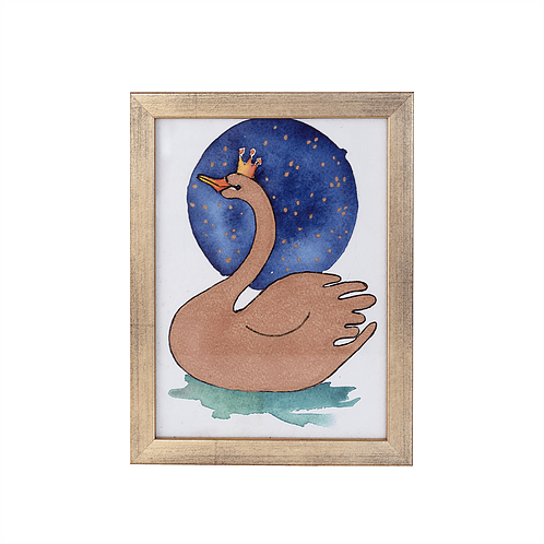 Swan watercolor - Gold frame - Mary Tale