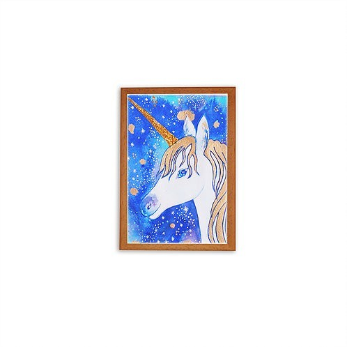 Gold Unicorn Watercolor by Isabel Luz - Wood frame - Mary Tale