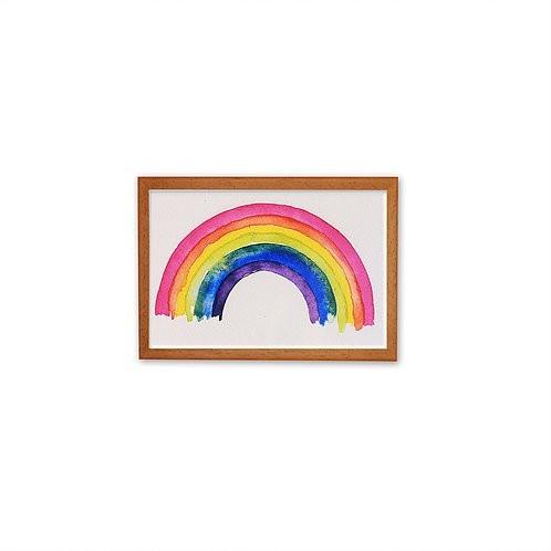 Aguarela Rainbow - Moldura Madeira