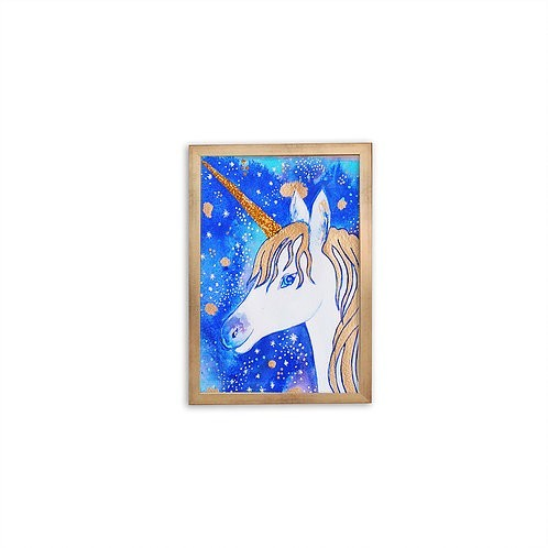 Gold Unicorn Watercolor by Isabel Luz - Gold frame - Mary Tale