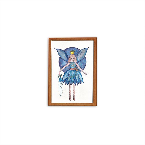 Bluebell fairy watercolor - Wood frame - Mary Tale
