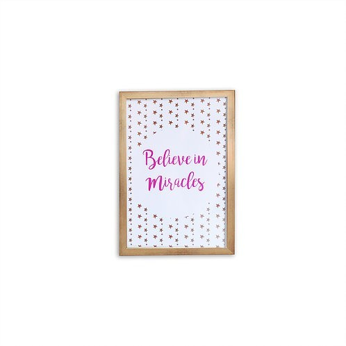 Believe In Miracles Pink Print - Gold frame - Mary Tale