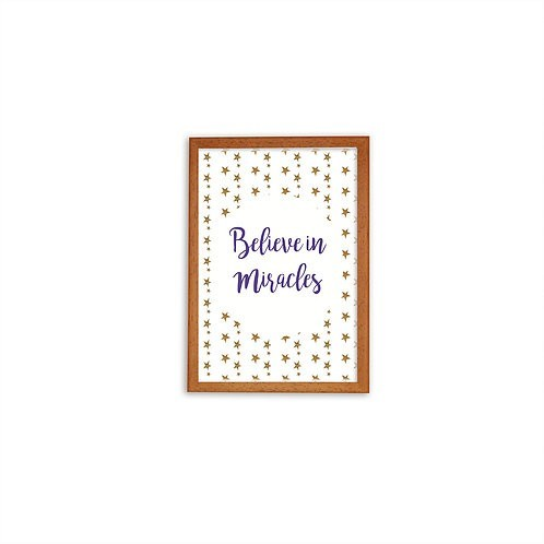 Believe In Miracles Purple Print - Wood frame - Mary Tale