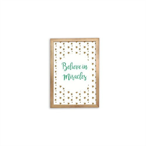 Believe In Miracles Green Print - Gold frame - Mary Tale