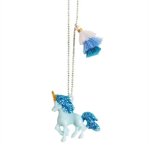 Blue and glitter Unicorn Necklace - Mary Tale
