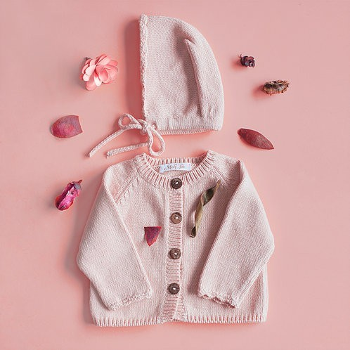 Soft pink knitted cardigan composition - Mary Tale