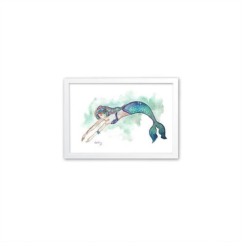 Watercolor Mermaid by Isabel Luz - White frame - Mary Tale