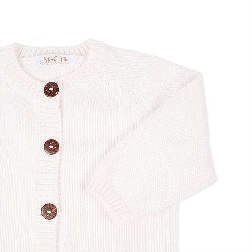 Knitted white baby cardigan detail - Mary Tale