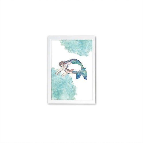 Mermaid Love Print - White frame - Mary Tale