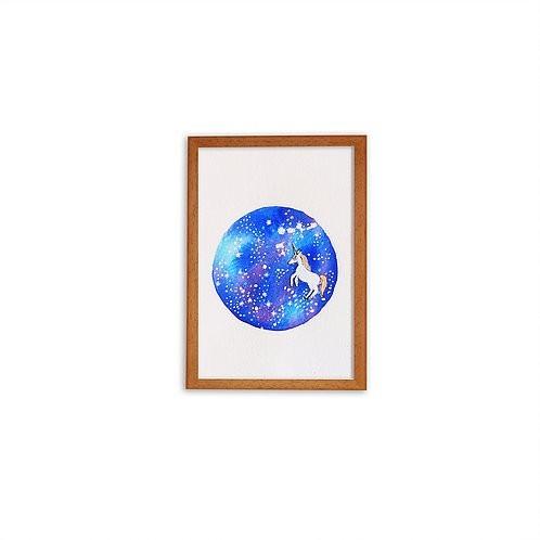 Aguarela Galáxia Unicórnio - Moldura Madeira