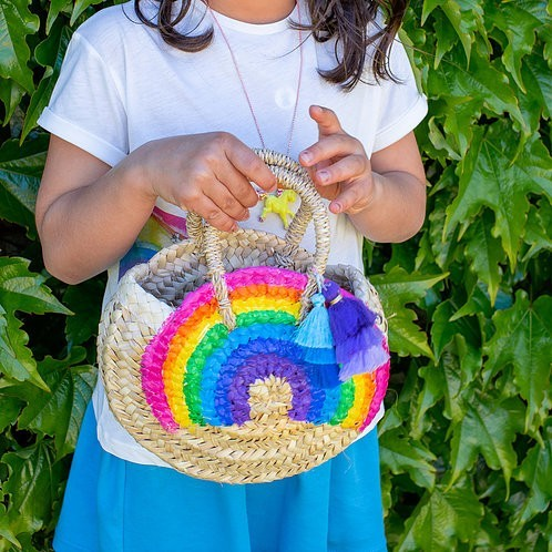 Rainbow rounded palm basket small size - Mary Tale
