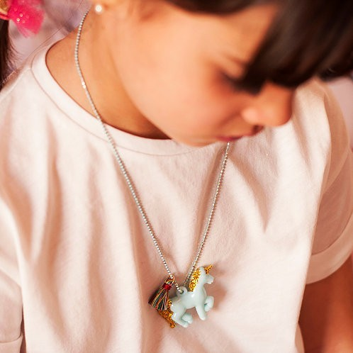 Blue gold Unicorn Necklace - Mary Tale