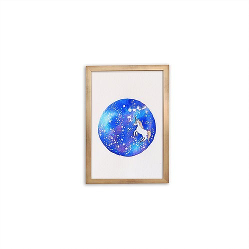 Watercolor Galaxy Unicorn by Isabel Luz - Gold frame - Mary Tale