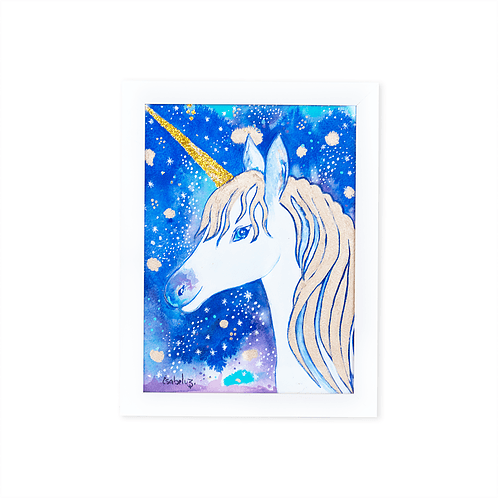 Gold Unicorn Watercolor by Isabel Luz - White frame - Mary Tale