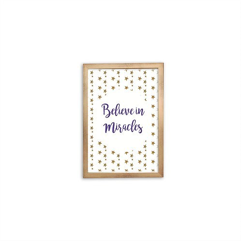 Believe In Miracles Purple Print - Gold frame - Mary Tale