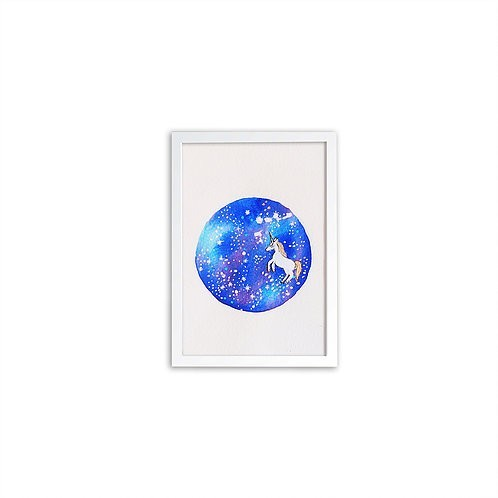 Watercolor Galaxy Unicorn by Isabel Luz - White frame - Mary Tale