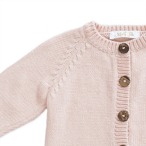 Soft pink knitted cardigan (detail) - Mary Tale