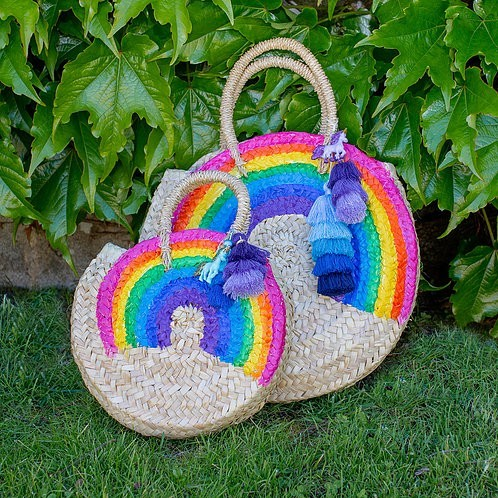 Rainbow rounded palm basket small size and large size - Mary Tale