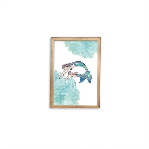 Mermaid Love Print - Gold frame - Mary Tale