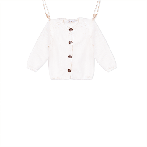 Knitted white baby cardigan with coconut buttons - Mary Tale