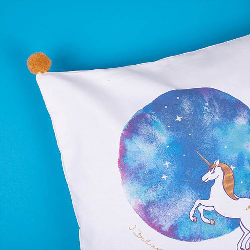 Unicorn pillow detail - Mary Tale