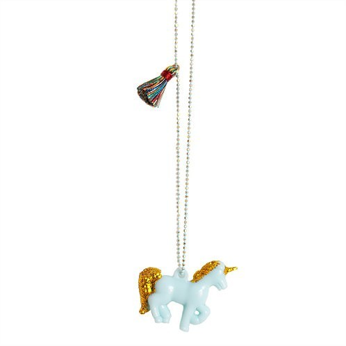 Blue gold Unicorn Necklace with tassle - Mary Tale