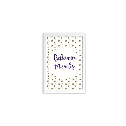 Believe In Miracles Purple Print - White frame - Mary Tale