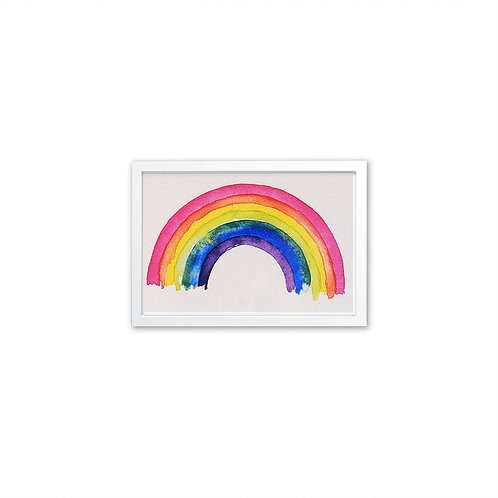 Rainbow watercolor by Isabel Luz - White Frame - Mary Tale