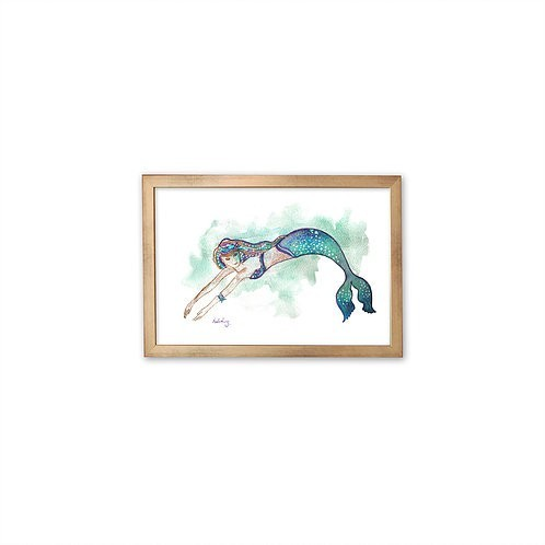 Watercolor Mermaid by Isabel Luz - Gold frame - Mary Tale