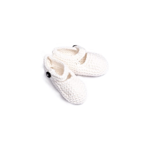 White Knitted Newborn Shoes with coconut button -- Mary Tale