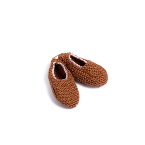 Camel brown Knitted Newborn Shoes with elastic - Mary Tale