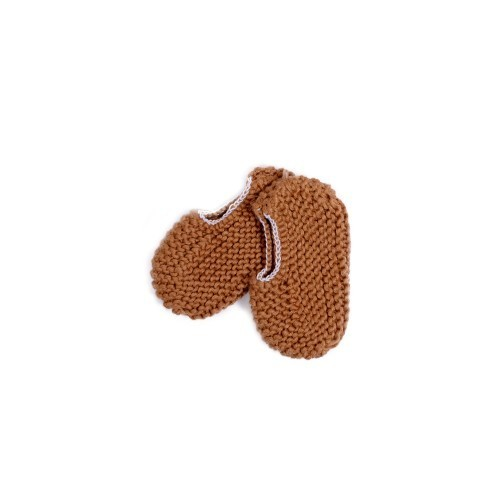 Camel brown Knitted Newborn Shoes with elastic 2 - Mary Tale