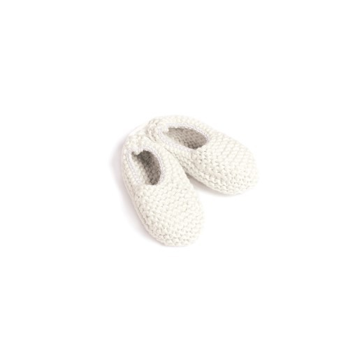 White elastic Knitted Newborn Shoes - Mary Tale