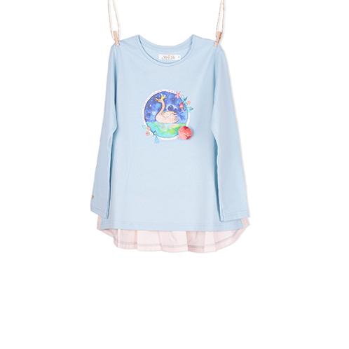 Organic Blue Swan Shirt for girls