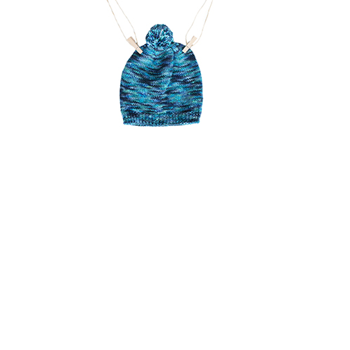 Knitted blue bonnet for baby boy