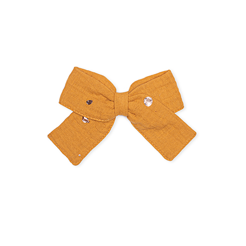 Mustard organic bow for girls hair