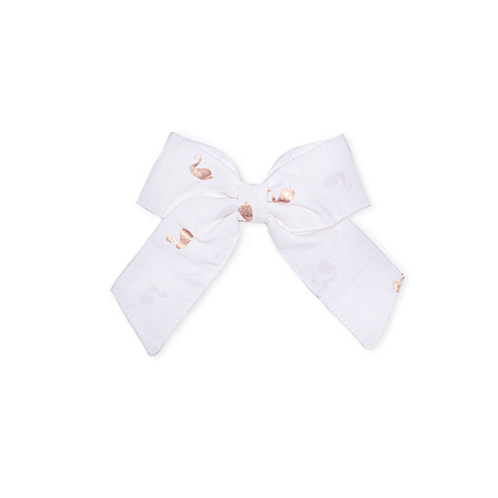 Swan organic bow for girls hair