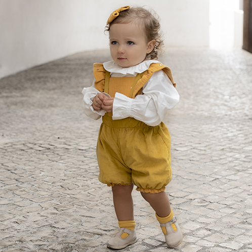 mustard romper for baby girl